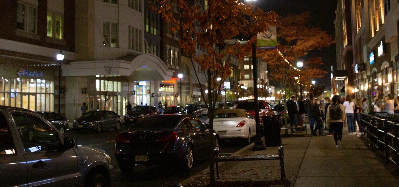 Rowan Boulevard at night.