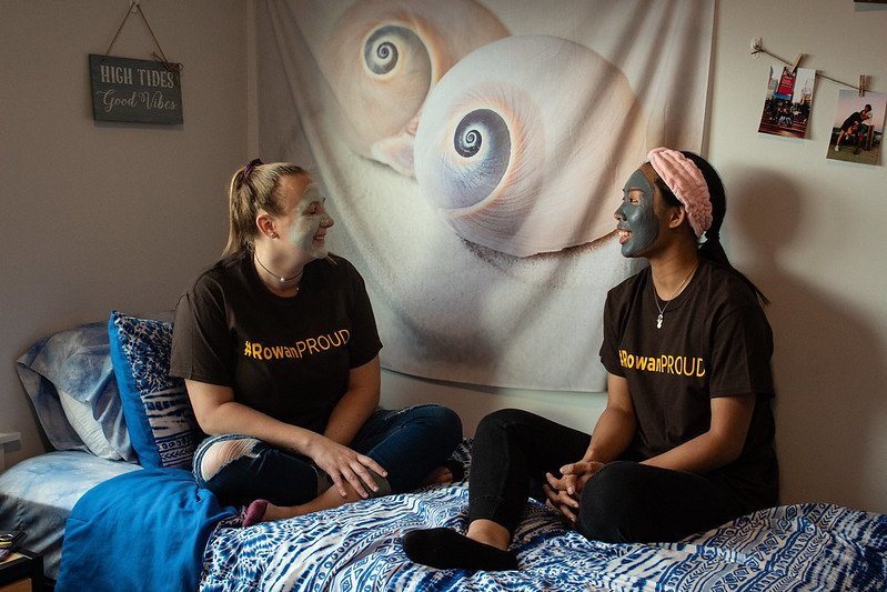 Two roommates enjoy at-home facials