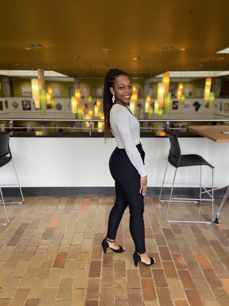 Psychology major Nhadja Crawford-Bell in the Chamberlain Student Center