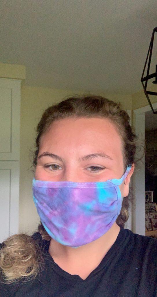 Mechanical engineering major Olivia Mason wears her customized mask.