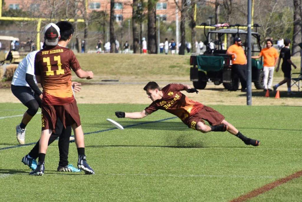 Joe D'Intino playing ultimate frisbee.