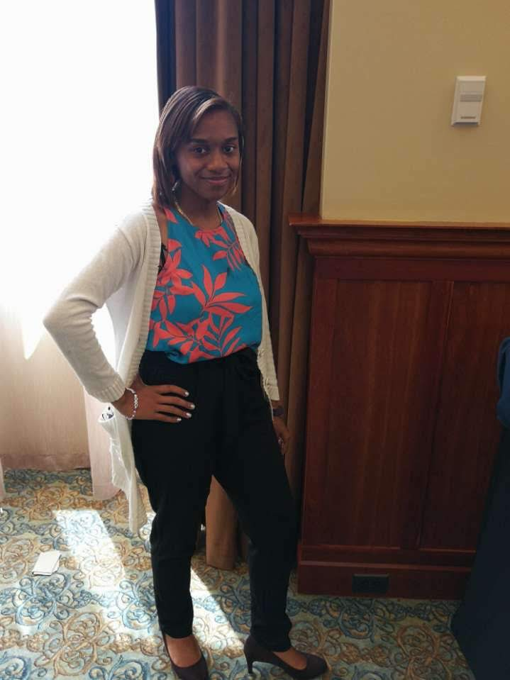 Monica poses at the Pre-College Institute leadership event.