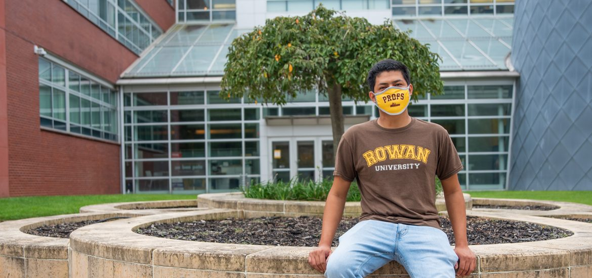 Erwin sits outside Science Hall.