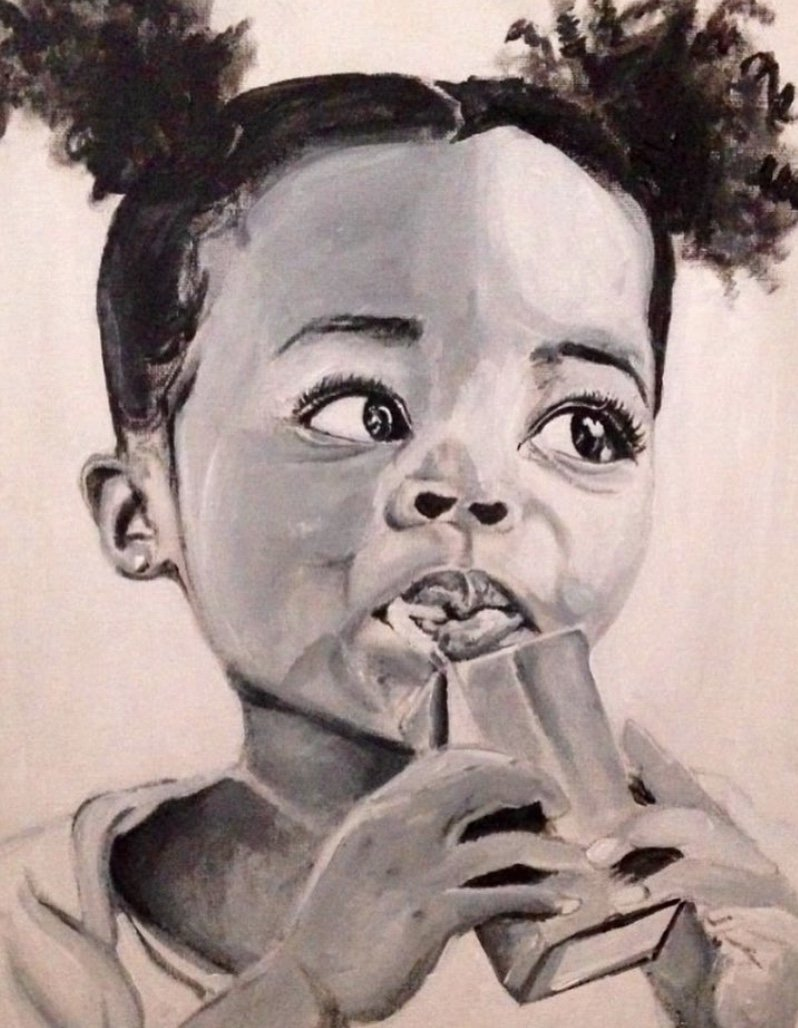 Beatrice Carey Artwork, black and white portrait of a little Black girl drinking from a juice box, with her hair in pigtails.