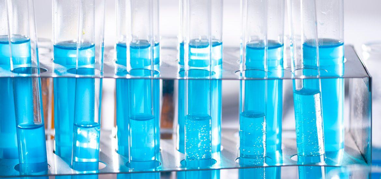 Viles of blue liquid.