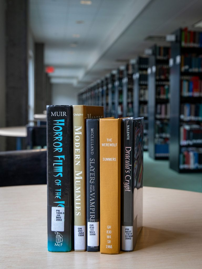 Book recommendations inside Campbell Library.