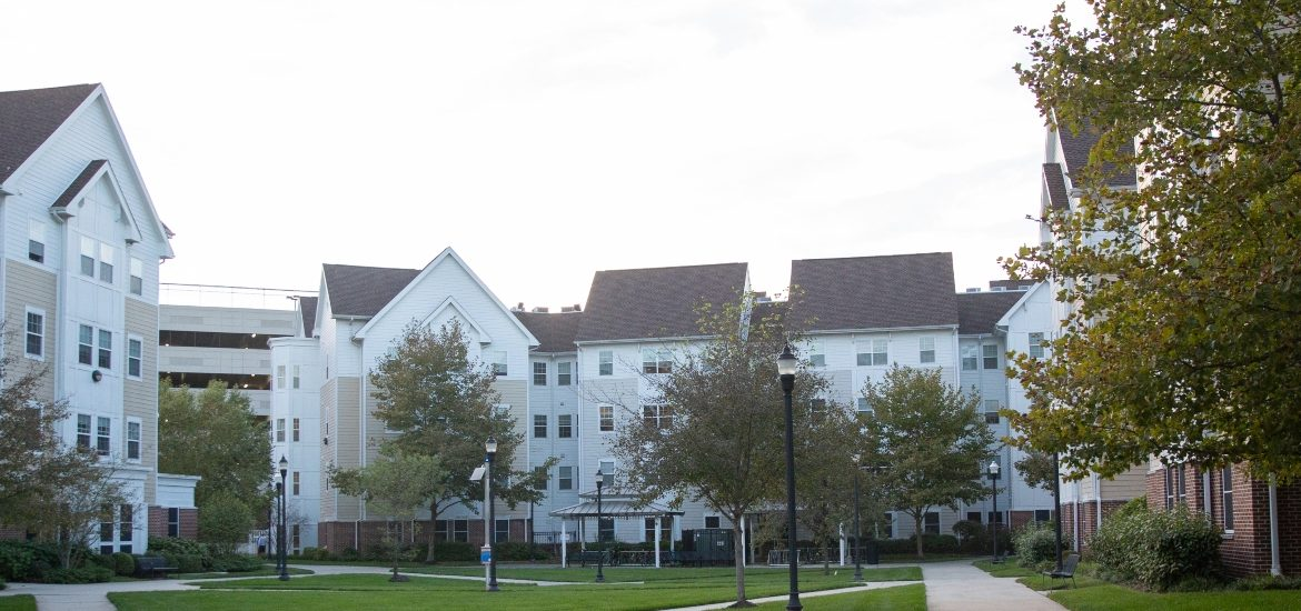 View of the Rowan Boulevard Apartments from the courtyard.