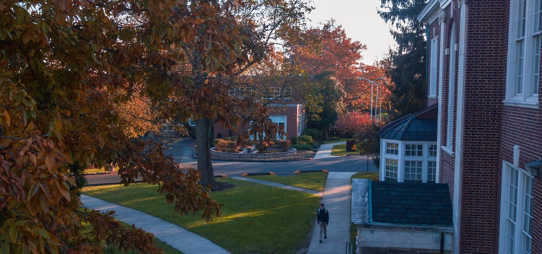 Exterior shot of campus walking paths.