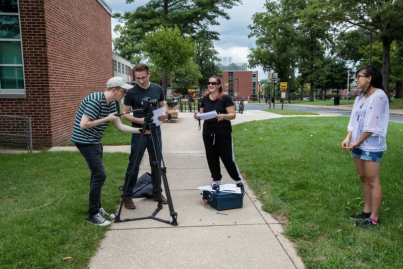 RTF students film outside Bozorth Hall.