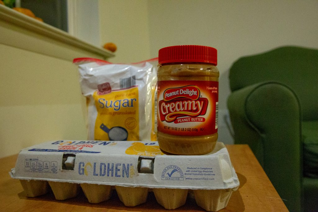 Peanut Butter Blossoms ingredients.