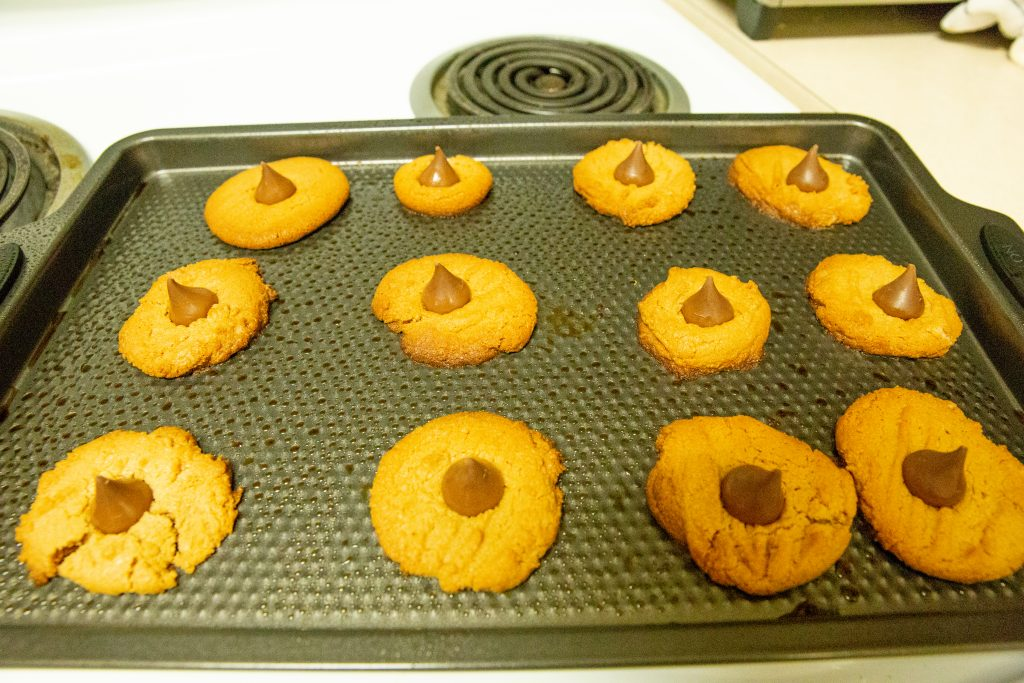 Peanut Butter Blossoms with Hershey's kisses.