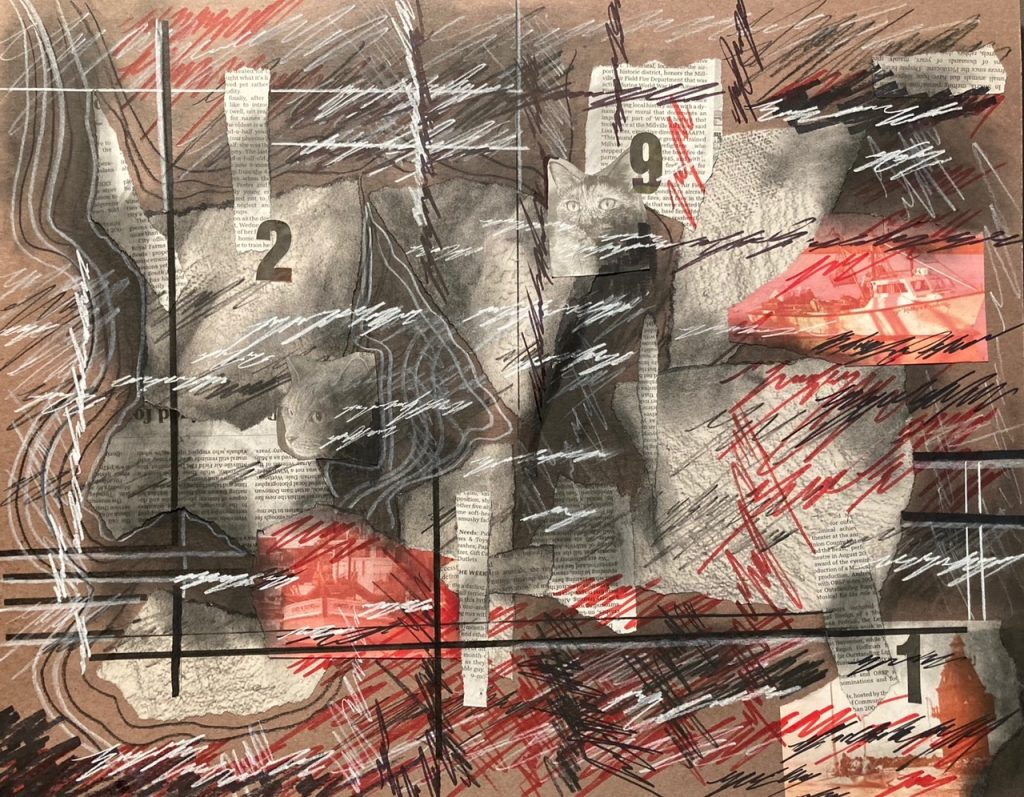 Eric's artwork: scratch effect mixed media look of newspaper clipping, red and black scribble.