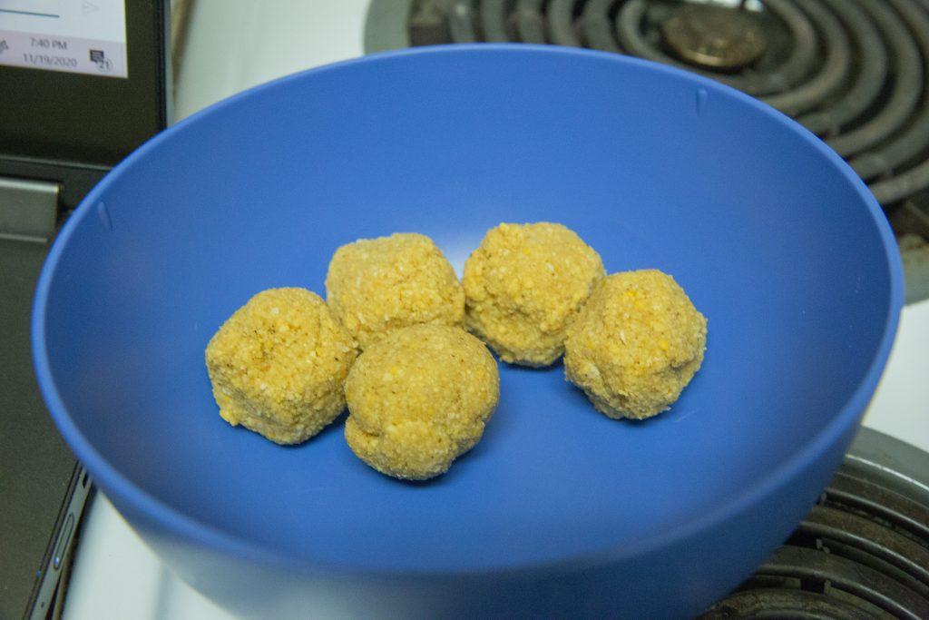 Balls of falafel batter.