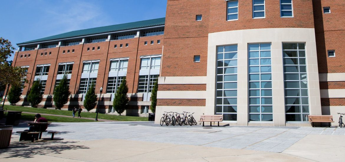 Exterior shot of the side of Campbell Library.