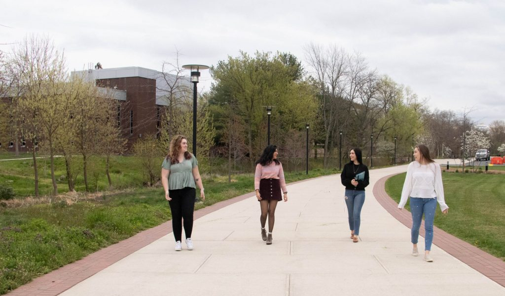 The Steminist Squad walks to Business Hall.