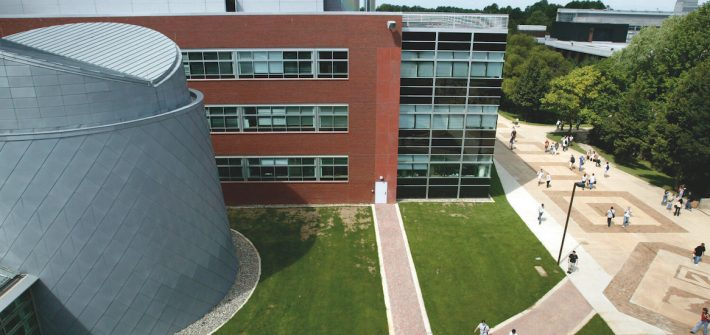 Drone photo of Science Hall.