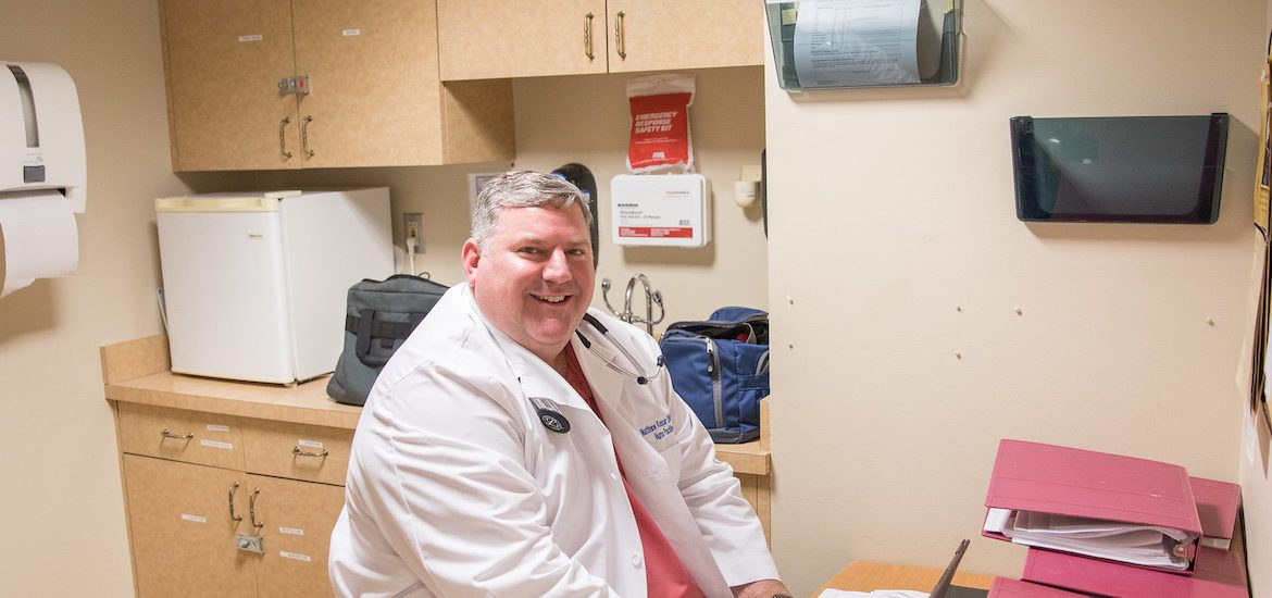 Matthew works in the facility where he cares for senior patients.