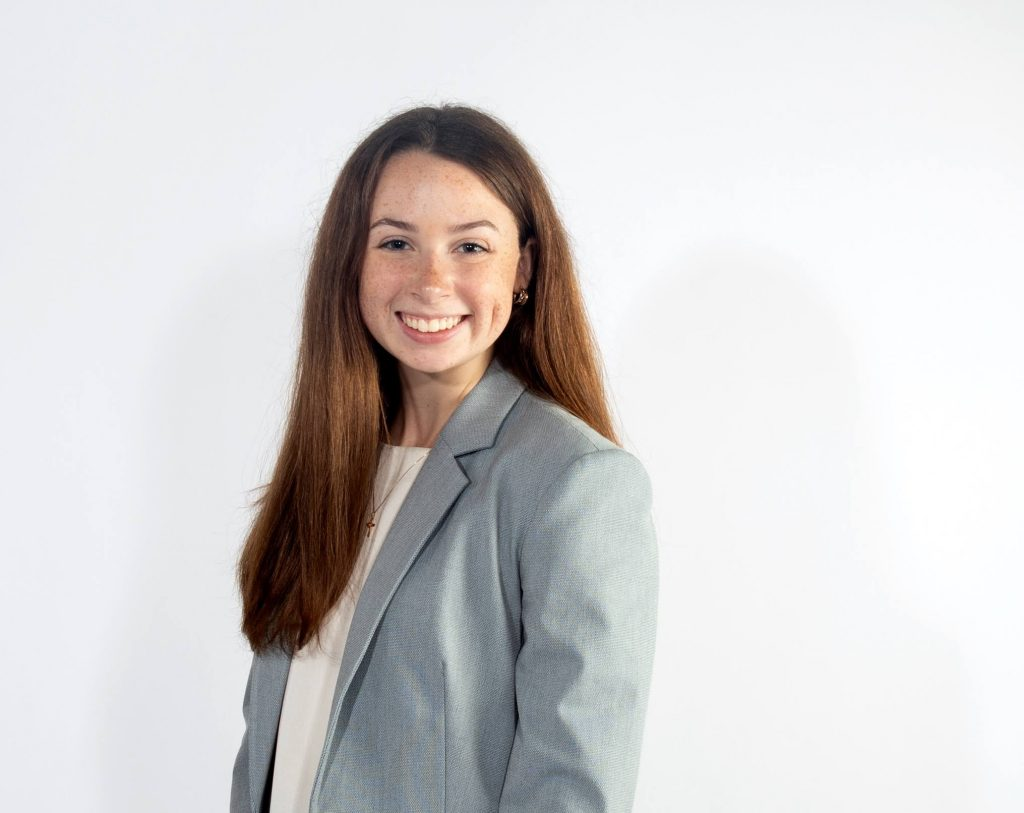 Sarah McCabe, one of the interns for the Edelman College of Communication and Creative Arts.
