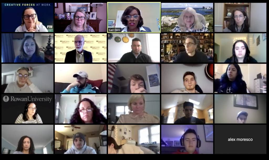 """A Zoom screenshot of """"A Level Playing Field: Female Leaders in Sports Communication"""", a virtual workshop the Center for the Advancement of Women in Communication held."""