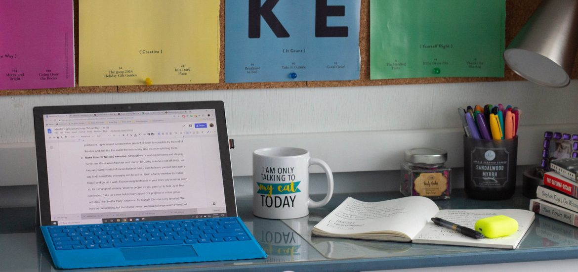 A student's study area.