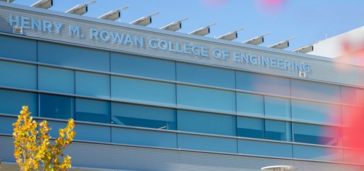 Exterior shot of bridge connecting Engineering and Rowan Halls.