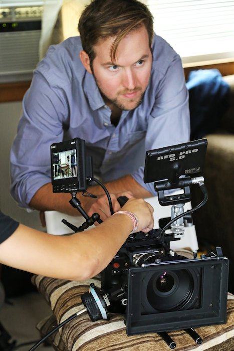 Ryan Geiger directing his independent film, Death By Scrabble.