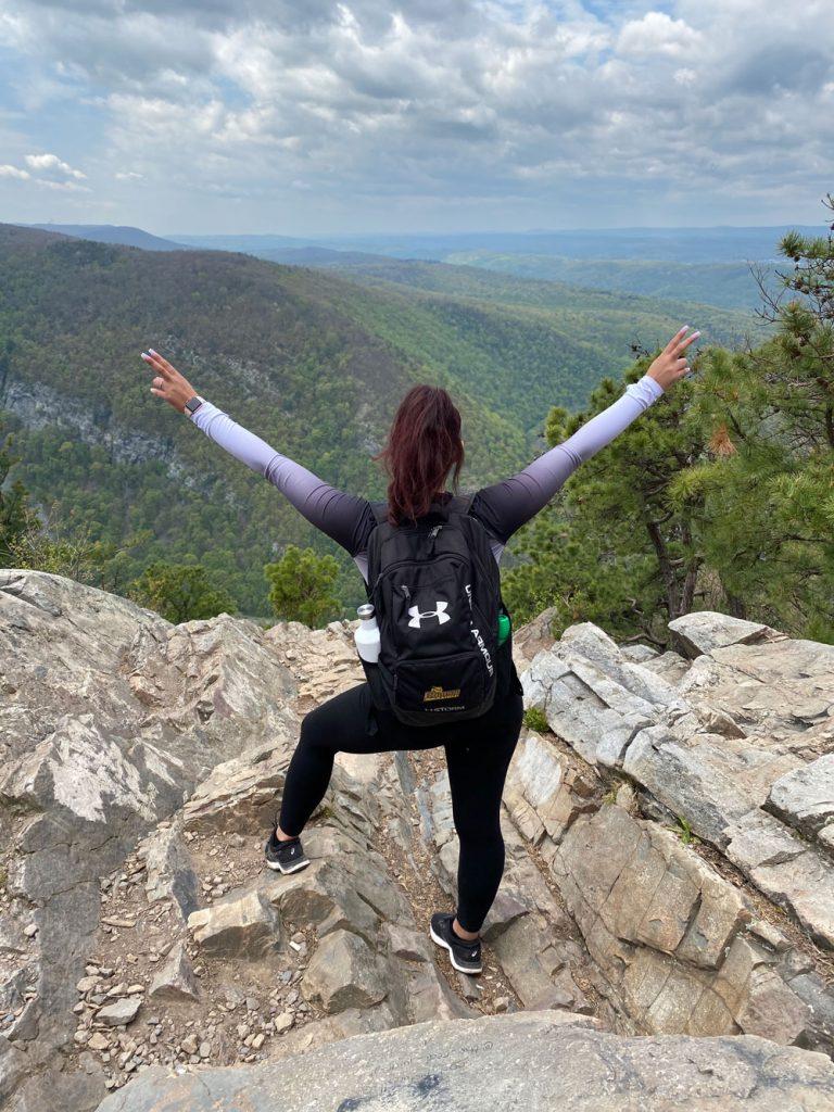 Tatyana at a mountain summit.