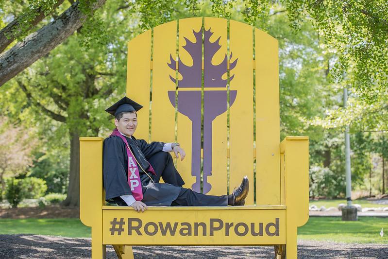 Student sitting on Rowan Proud Chair.