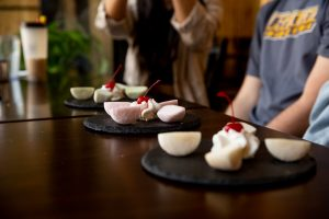 Three different flavors of Mochi covered ice cream.