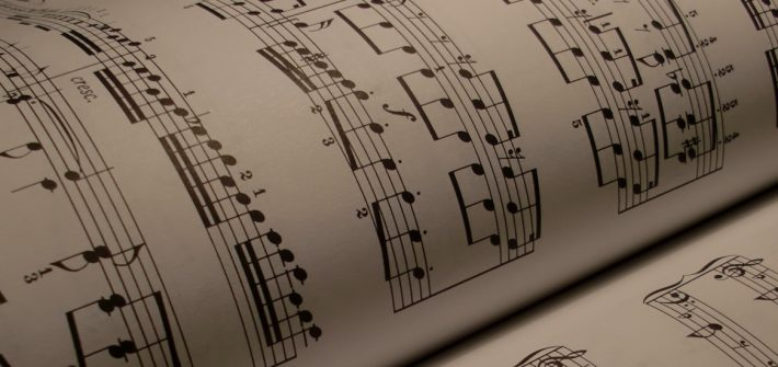 Sheet music in a book.