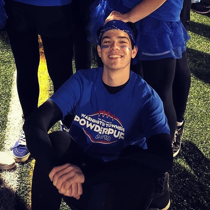 Will sitting on the floor of a football field.