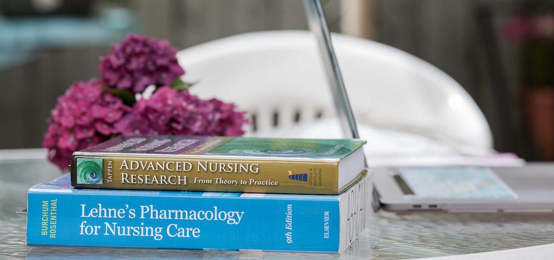 An exterior photo of nursing textbooks.