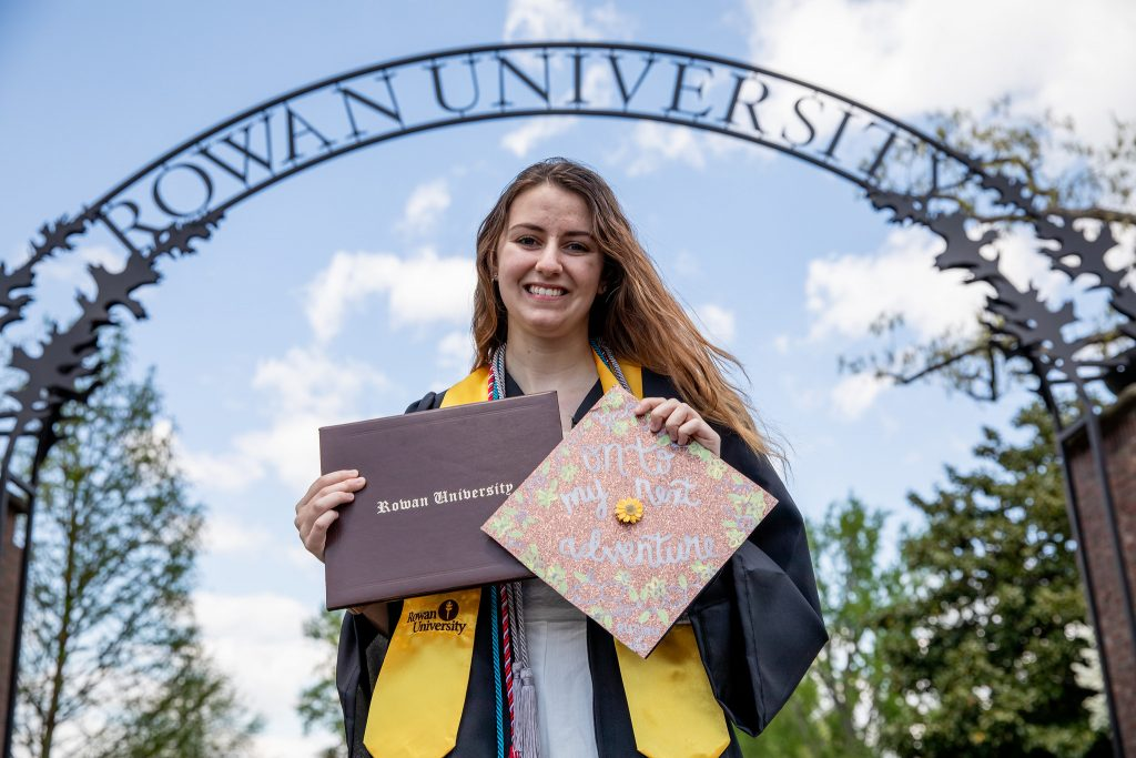 Alyssa stands in front of the Rowan arch.