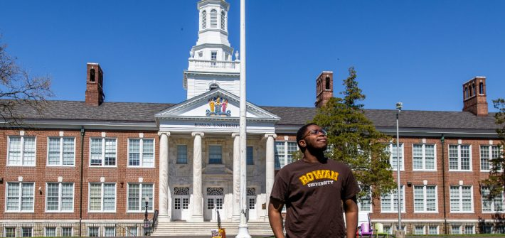 Alex stands in front of Bunce Hall