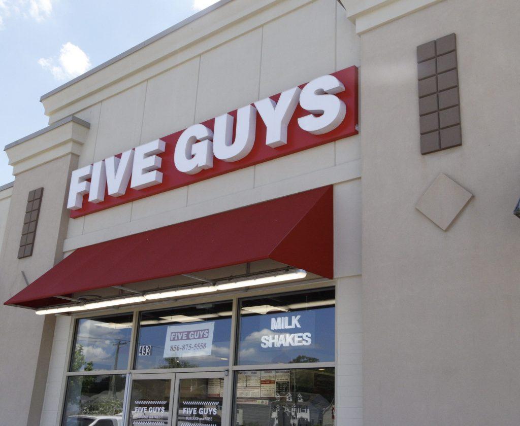 Exterior of Five Guys burger place in Sicklerville, NJ.