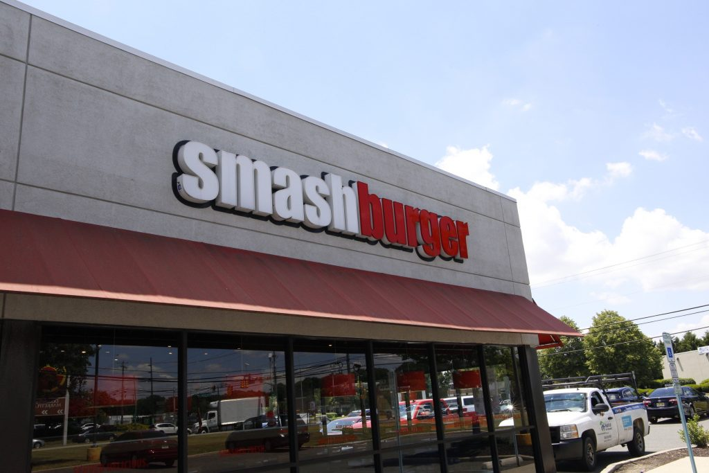 Exterior of Smashburger fast food restaurant in Glassboro.