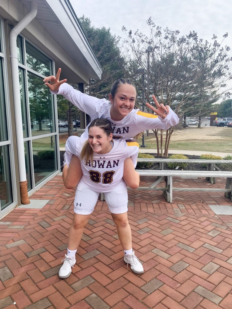 Natalie and lacrosse teammate Reilly before home game.