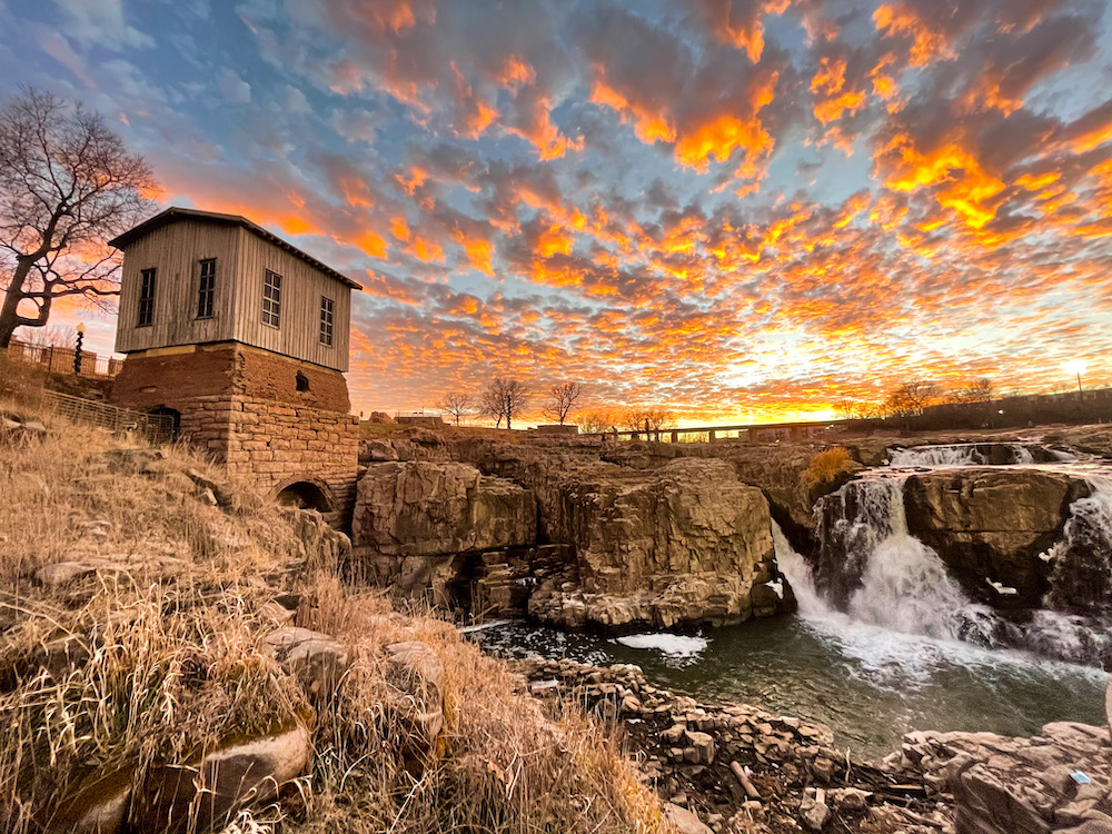 Waterfalls and tower in Sioux Falls, Minnesota