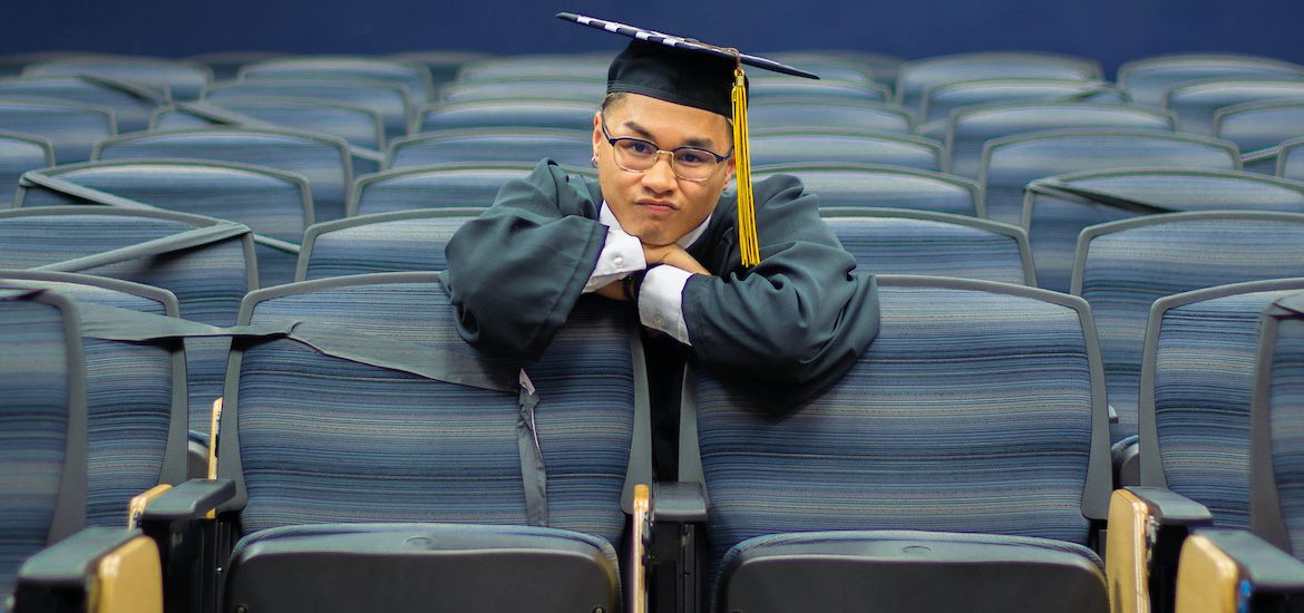 Riel makes a funny face while sitting in the Bozorth Hall Auditorium.