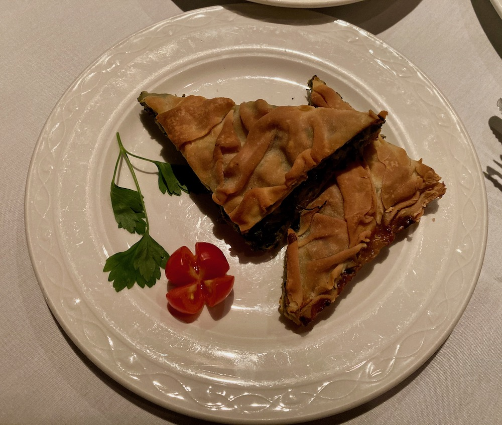Spanakopita, a Greek savory spinach pastry from Estia in Philly