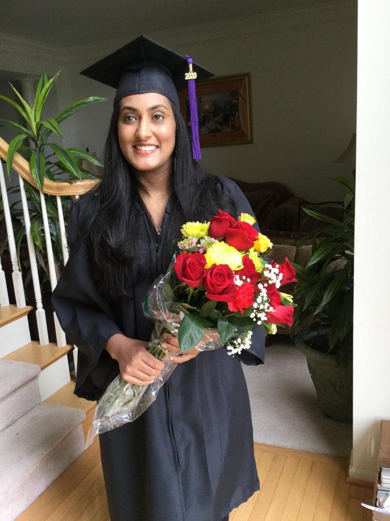 Sena Pottackal before 2020 Virtual Graduate Convocation where she was a student speaker.