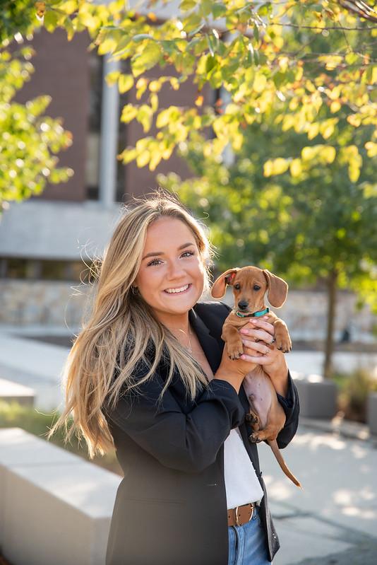 Rowan student with her Dachshund puppy.