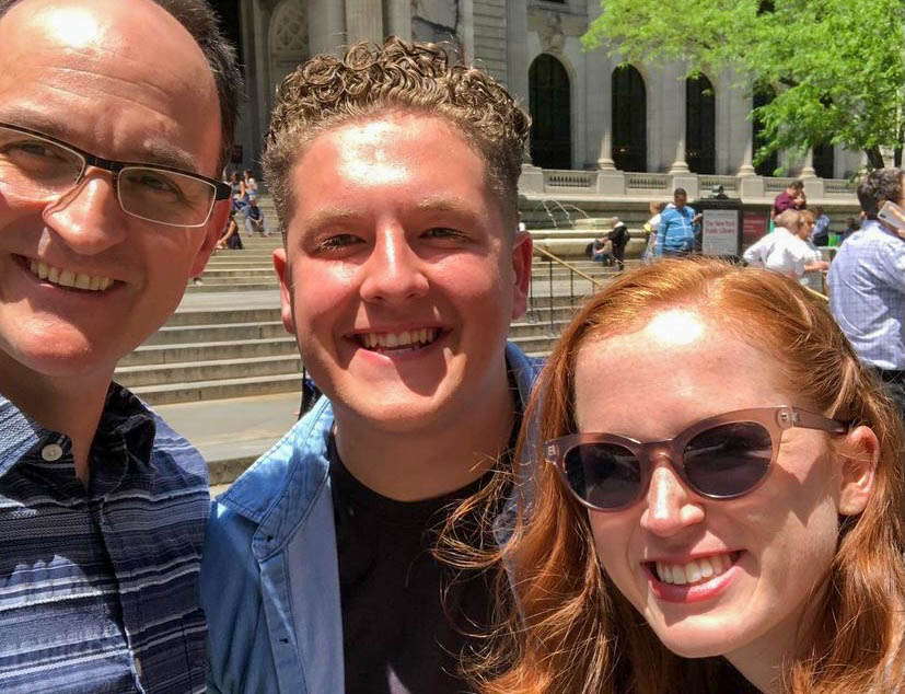 Pictured from left to right is Professor Michael Dean Morgan and students Nick Flagg and Maggie O'Connor from their trip to NYC in 2019.