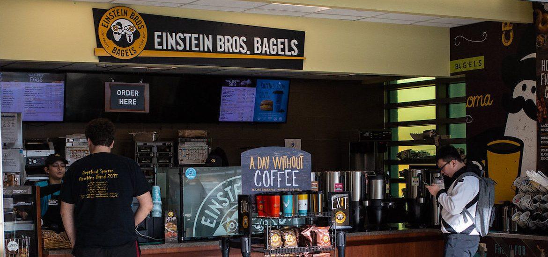Einstein Bagels storefront in Engineering Hall.