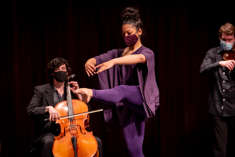 Amanda rehearses onstage.