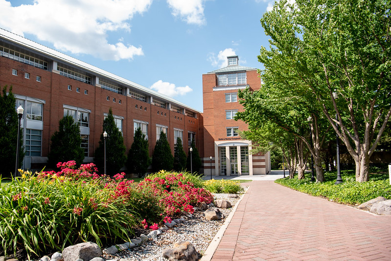 Exterior shot of the Campbell Library entrance.
