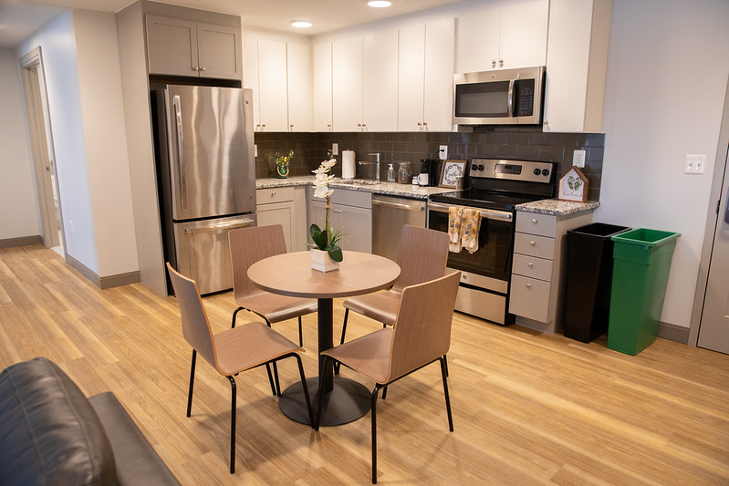 The kitchen in an apartment at 223 High Street.