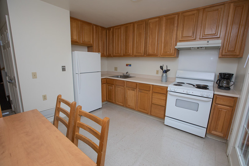 The kitchen in an apartment in the Townhouses.