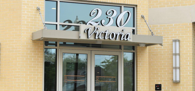 Exterior shot of 230 Victoria entrance.