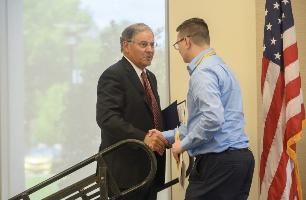Stephen (at right) introduces Assemblyman Bramnick at the Mid-Atlantic Political Intern Summit.